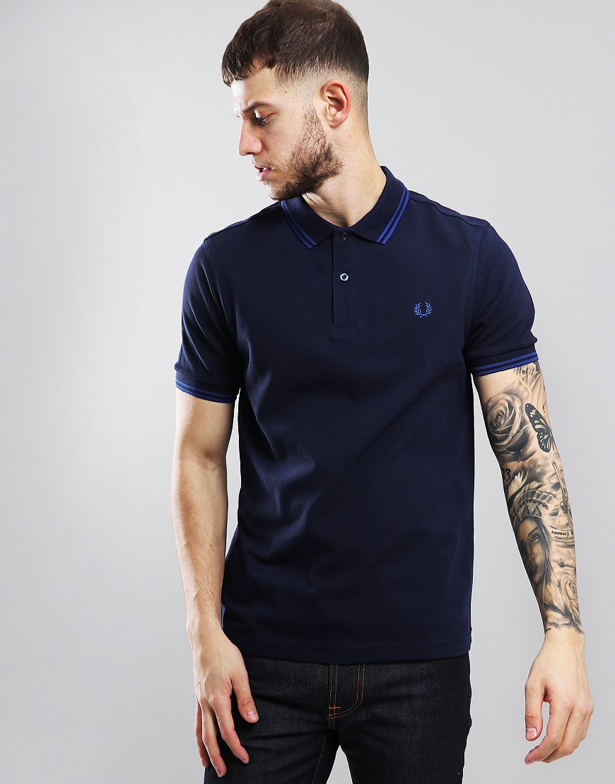 12569b6db78 Fred Perry Twin Tipped Polo Shirt Carbon Royal - Terraces Menswear