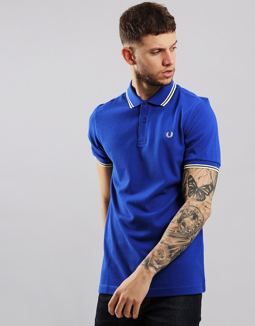 Fred Perry Twin Tipped Polo Shirt Cobalt/Custard