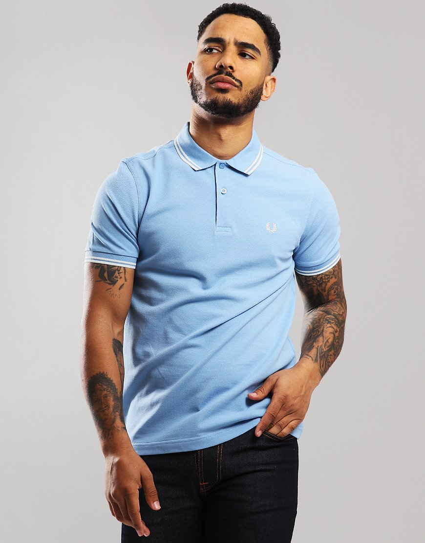 db12a72f4ee7 Fred Perry Twin Tipped Polo Shirt Sky/Snow White - Terraces Menswear