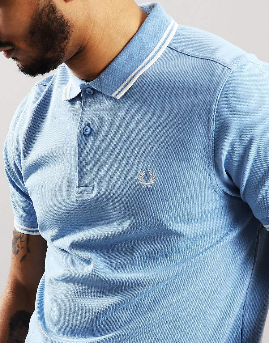 4344cf307 Fred Perry Twin Tipped Polo Shirt Sky/Snow White - Terraces Menswear