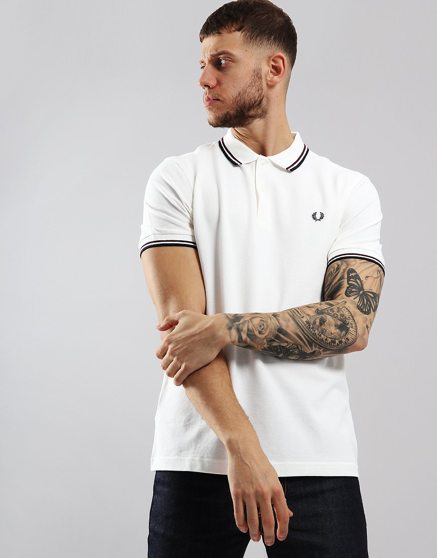 2d4f5e2b7 Fred Perry Twin Tipped Polo Shirt Snow White/Shiraz/Navy - Terraces Menswear