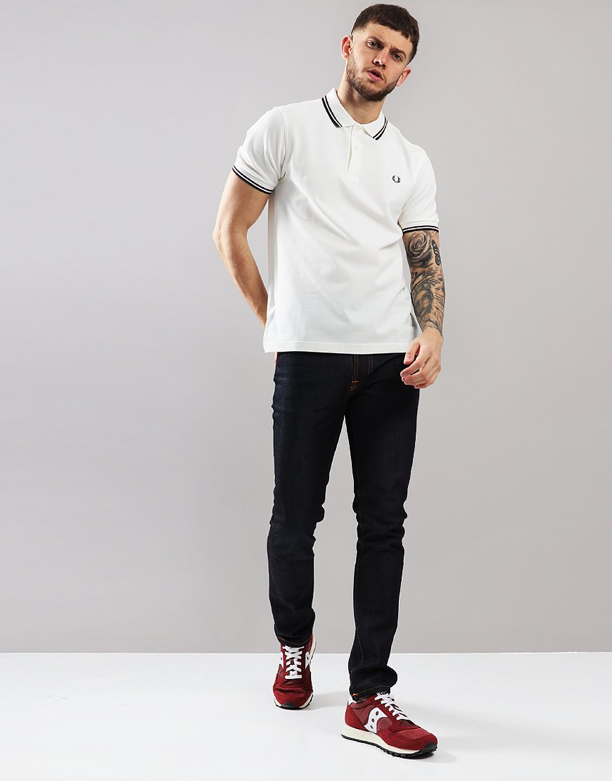 1f1d1608c9 Fred Perry Twin Tipped Polo Shirt Snow White Shiraz Navy - Terraces ...