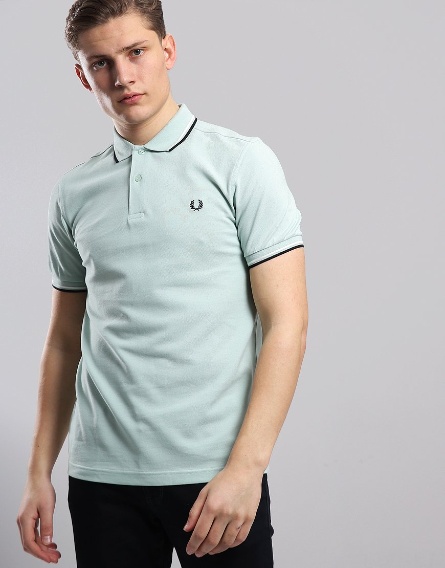 117a90517 Fred Perry Twin Tipped Polo Shirt Mint/Snow White/Black - Terraces Menswear