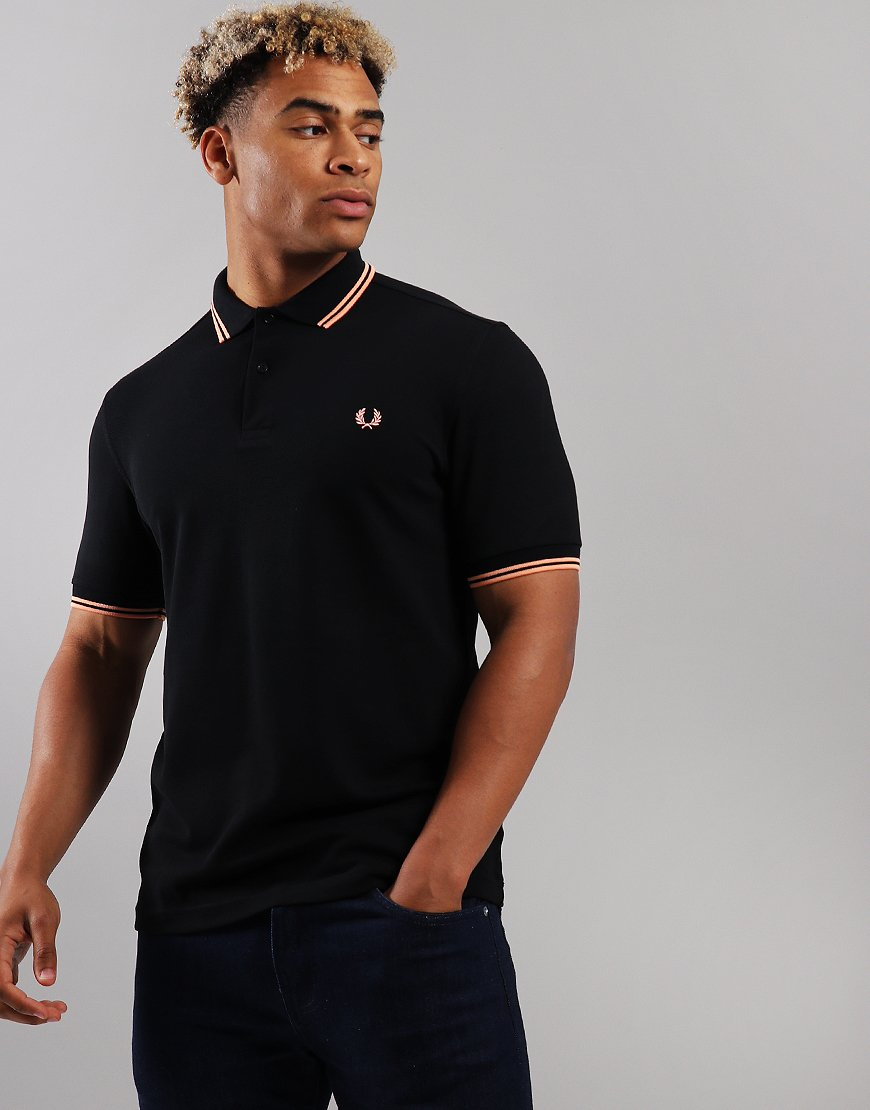 Fred Perry Twin Tipped Polo Shirt Black/Apricot Nectar