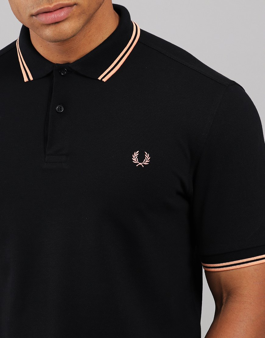 f38a79a0 Fred Perry Twin Tipped Polo Shirt Black/Apricot Nectar - Terraces ...