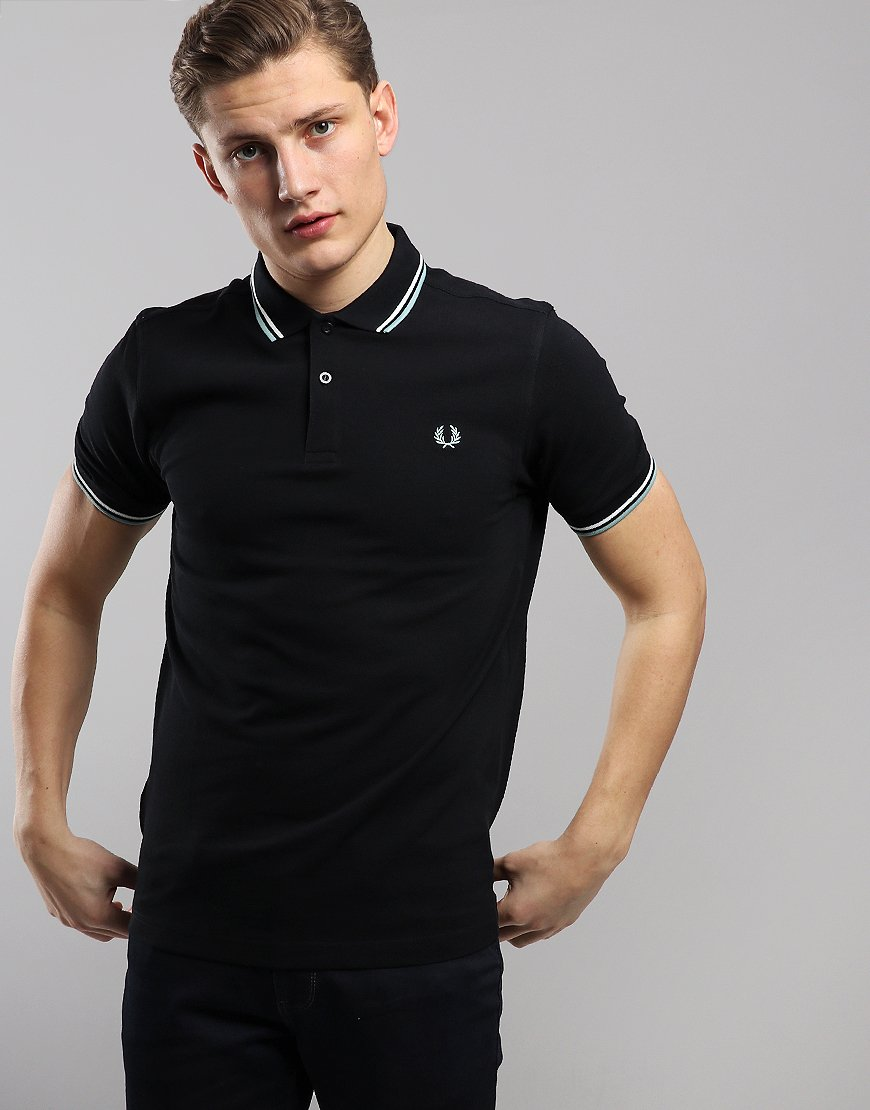 60426e4c3 Fred Perry Twin Tipped Polo Shirt Black/Snow White/Mint - Terraces Menswear