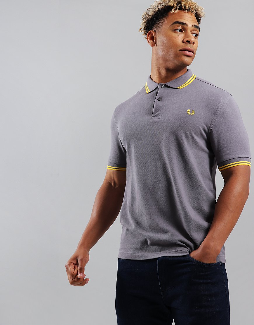 Fred Perry Twin Tipped Polo Shirt Iced Slate/Electric Yellow
