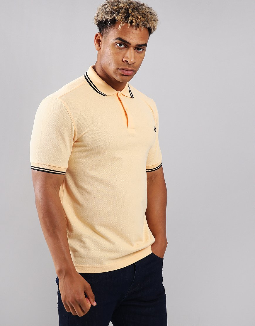 Fred Perry Twin Tipped Polo Shirt Pale Apricot/Black