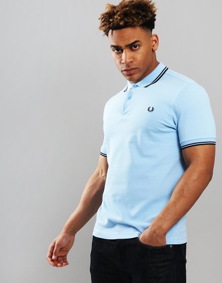 Fred Perry Twin Tipped Polo Shirt Summer Blue
