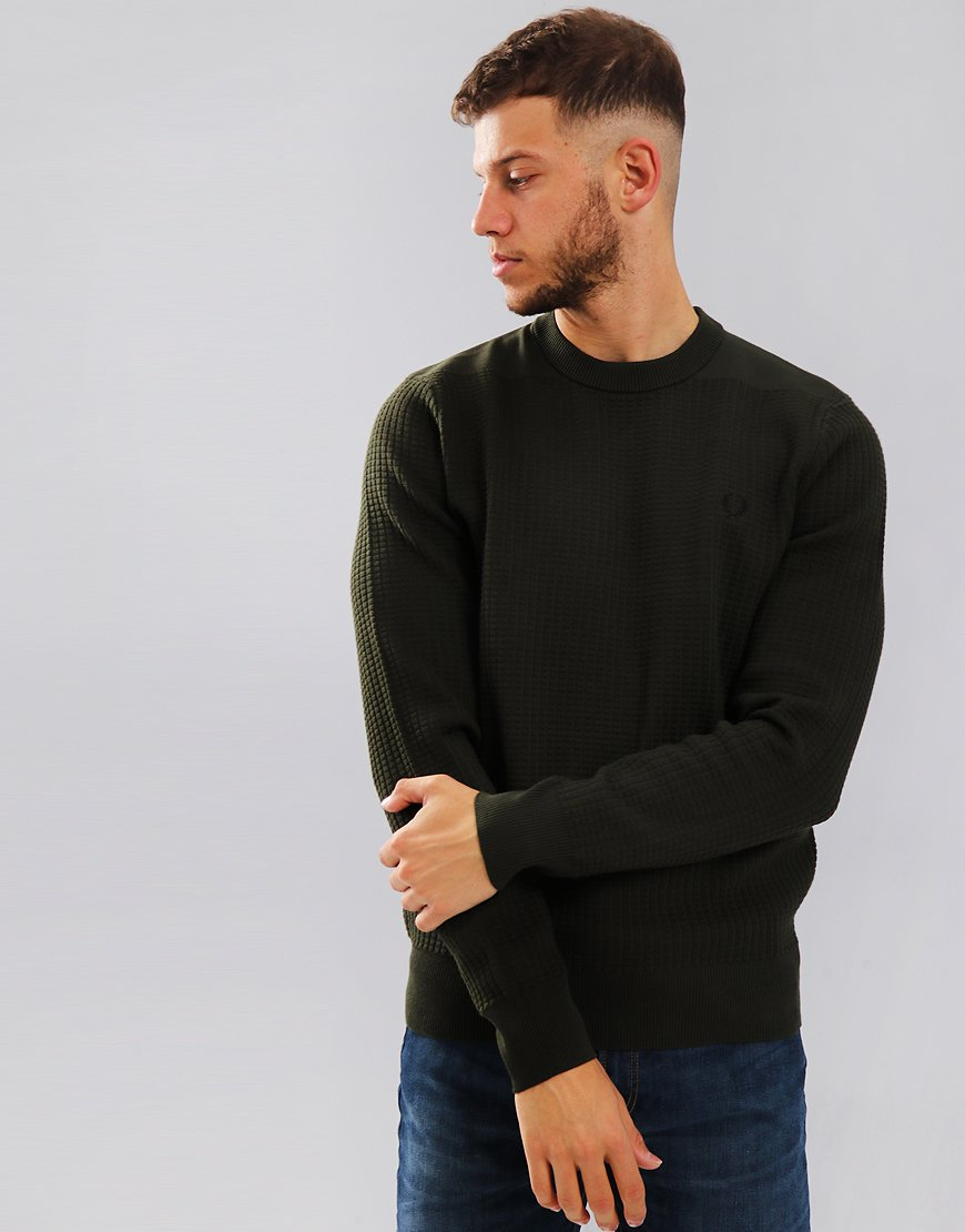 Fred Perry Waffle Textured Crew Neck Knit Hunting Green