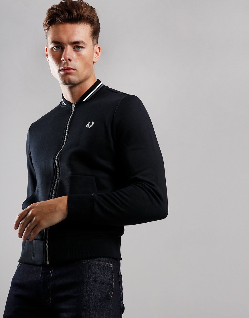 Fred Perry Zip Through Bomber Style Sweat Black