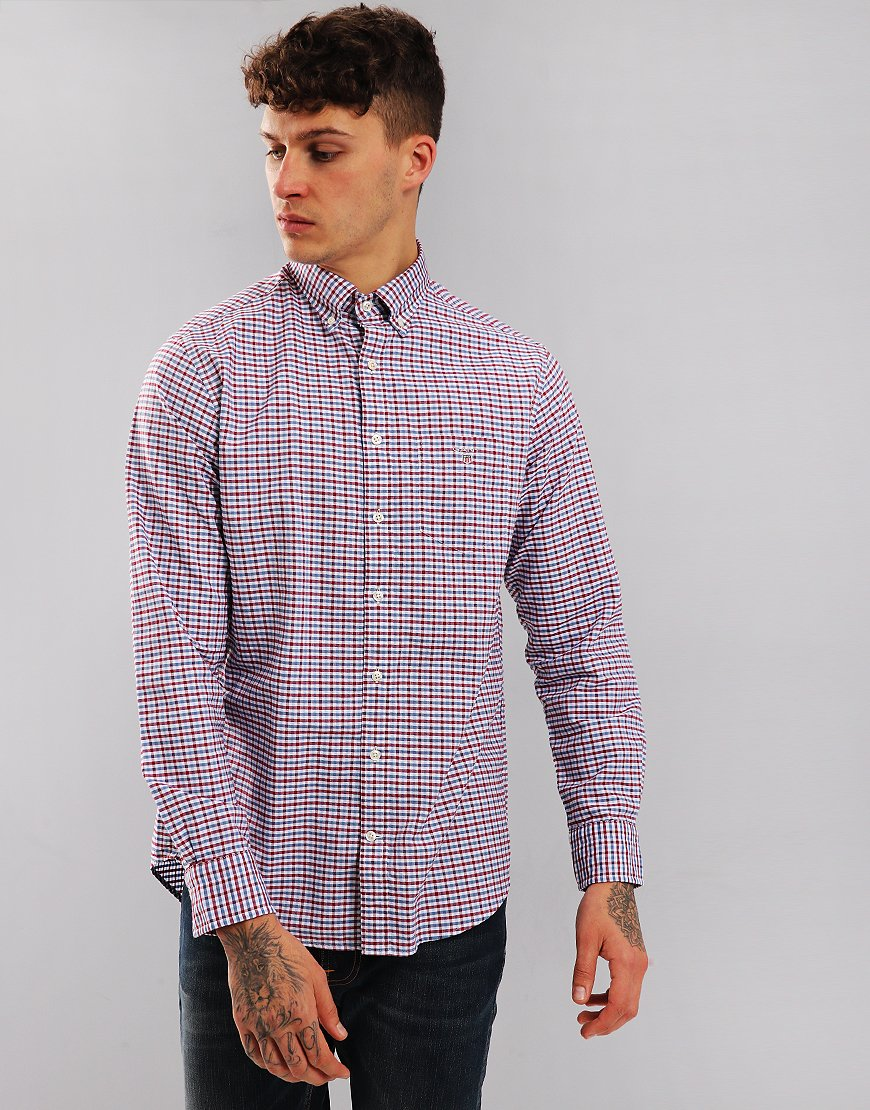 Gant Three Colour Gingham Long Sleeve Shirt Winter Wine