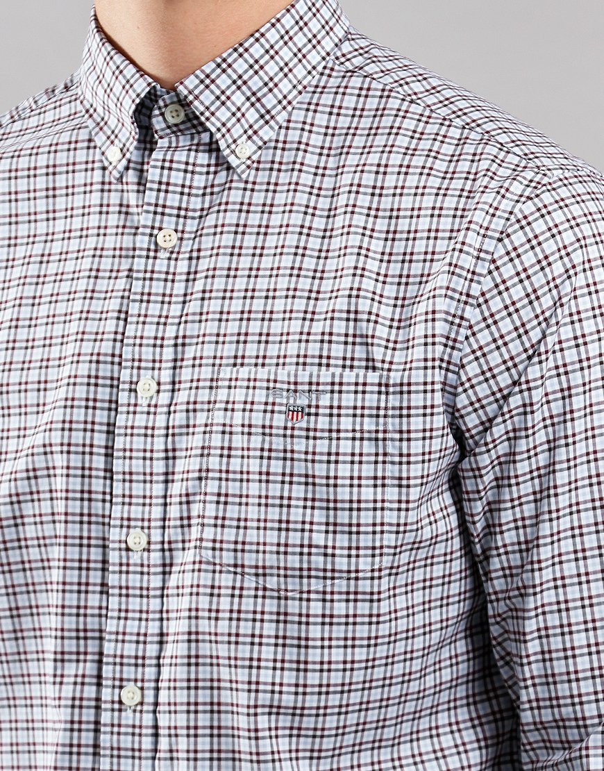 GANT 3 Colour Short Sleeve Gingham Shirt Port Red