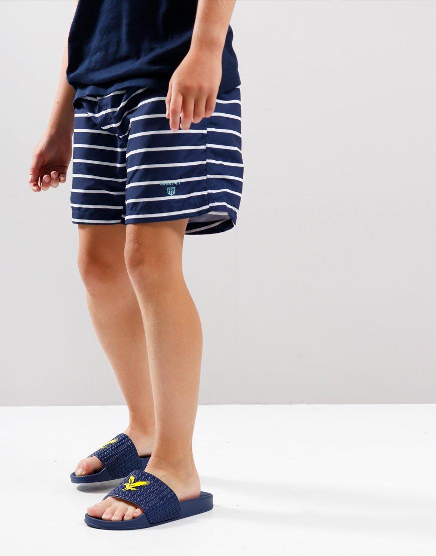 Gant Kids Breton Stripe Swim Shorts Persian Blue