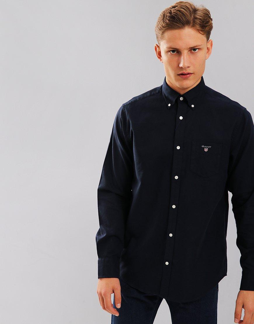 Gant Brushed Oxford Long Sleeve Shirt Marine