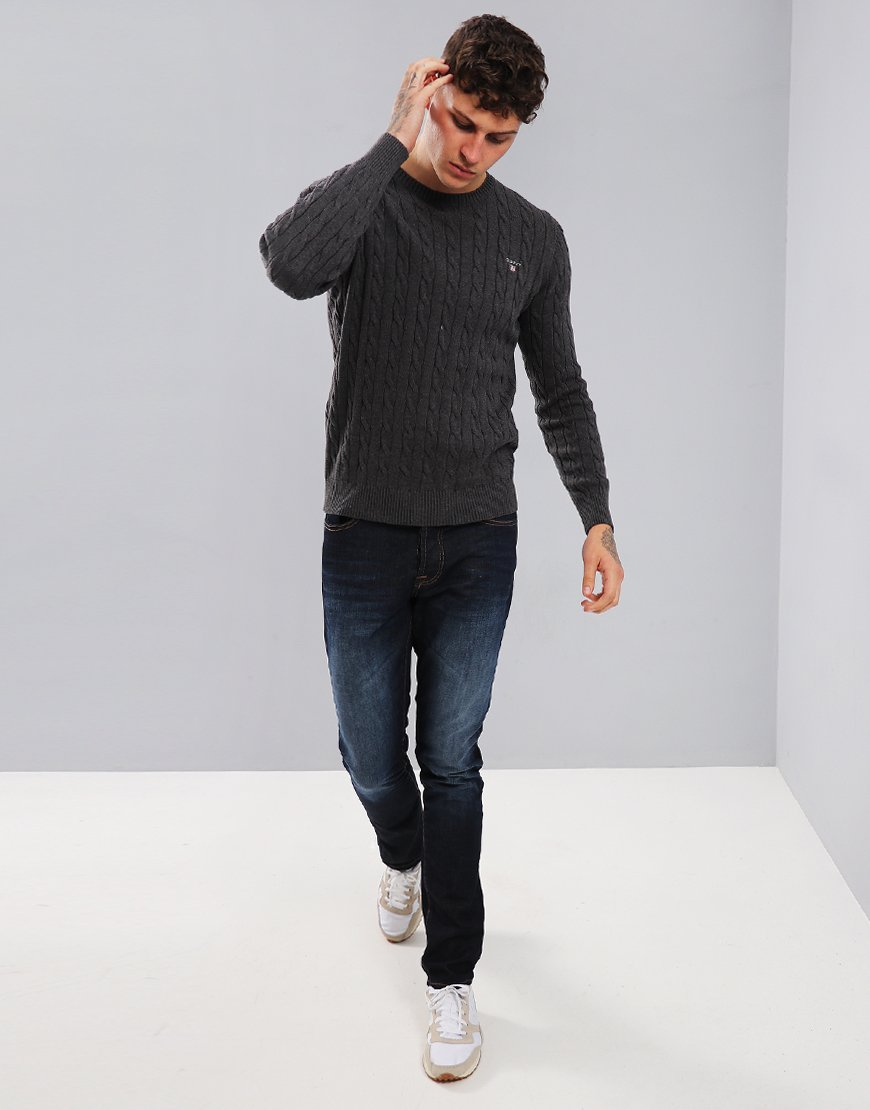 Gant Cable Crew Neck Jumper Anthracite