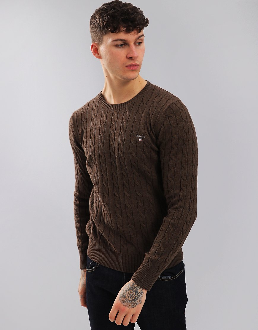 Gant Cable Crew Neck Jumper Brown Melange