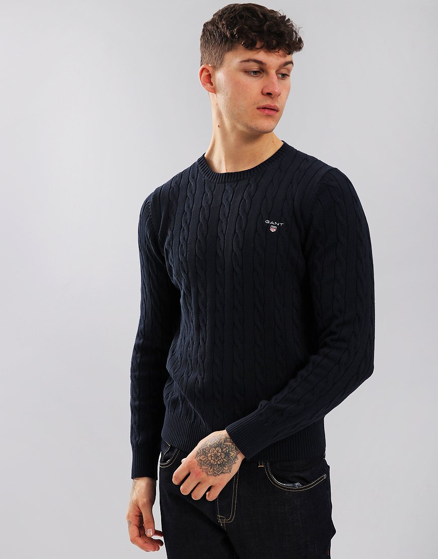 Gant Cable Crew Neck Jumper Evening Blue