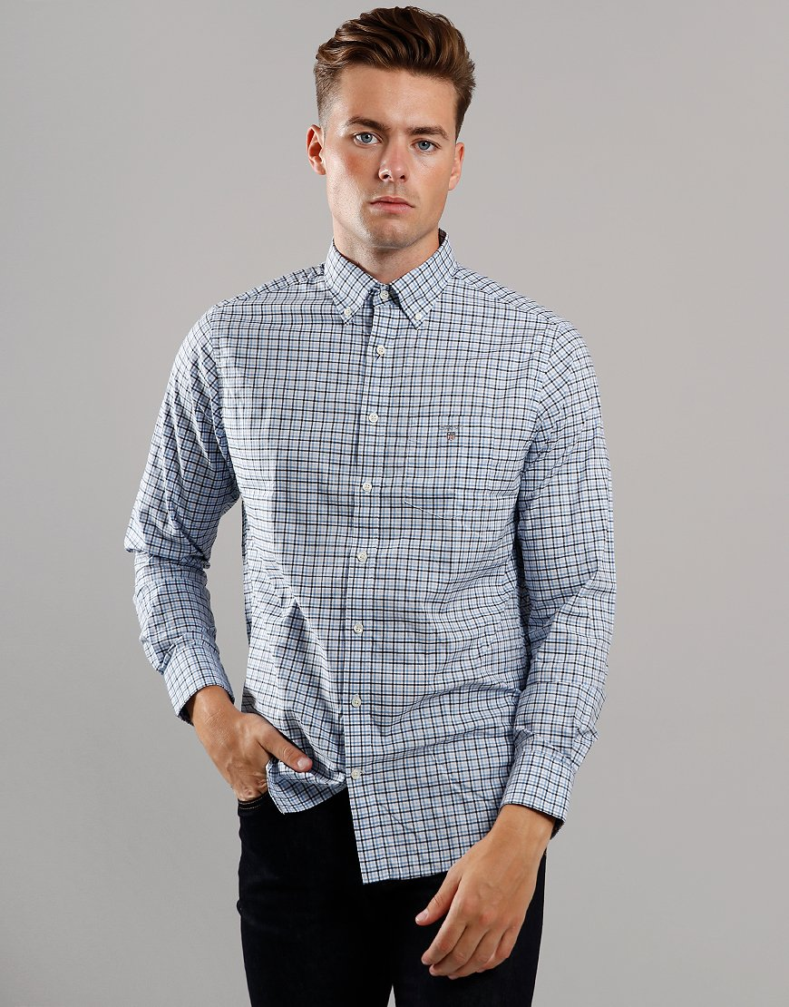GANT 3 Colour Long Sleeve Gingham Shirt Mid Blue