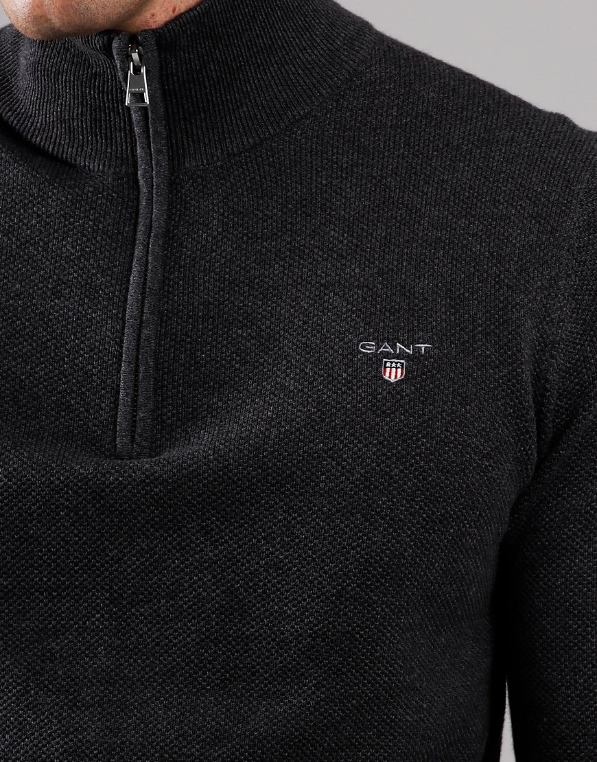 GANT Cotton Piqué Half Zip Sweat Anthracite