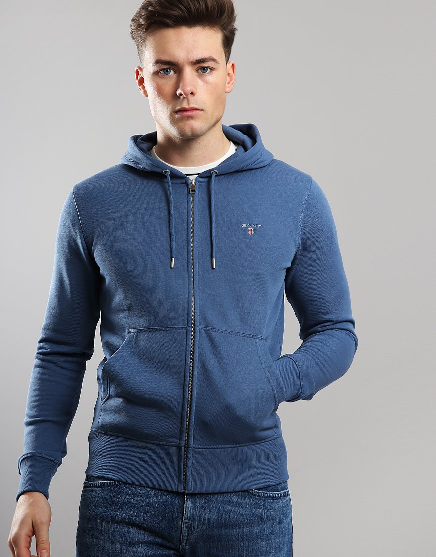 Gant UK Full Zip Hoodie Hurricane Blue