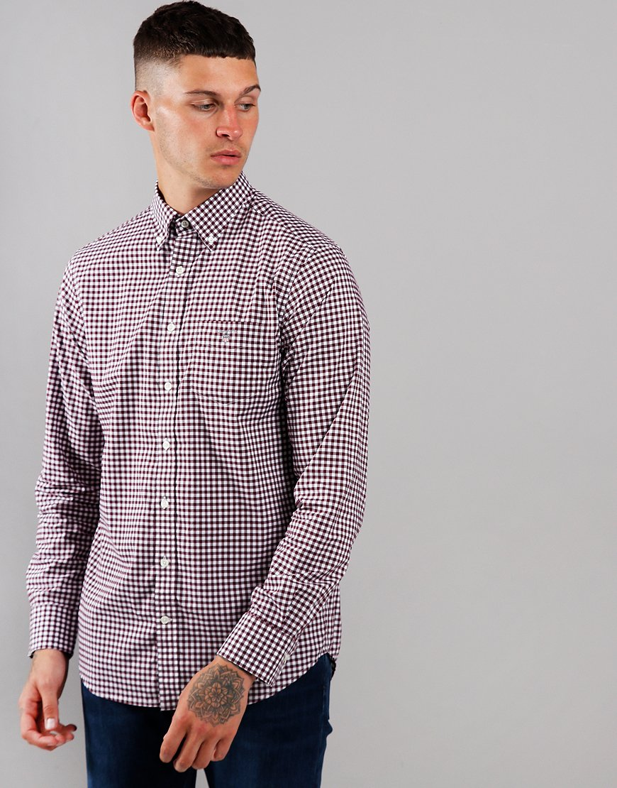 GANT Gingham Broadcloth Long Sleeve Shirt Port Red
