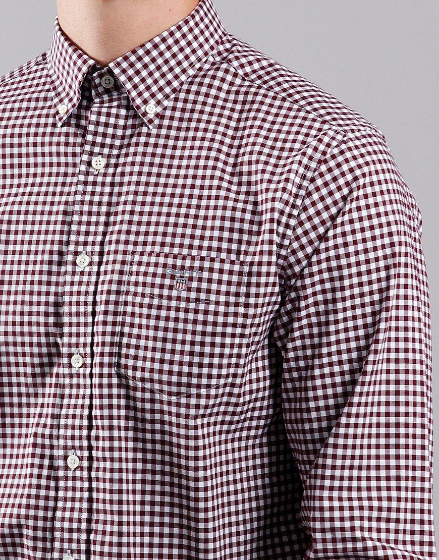 GANT Gingham Broadcloth Long Sleeve Shirt Port Red