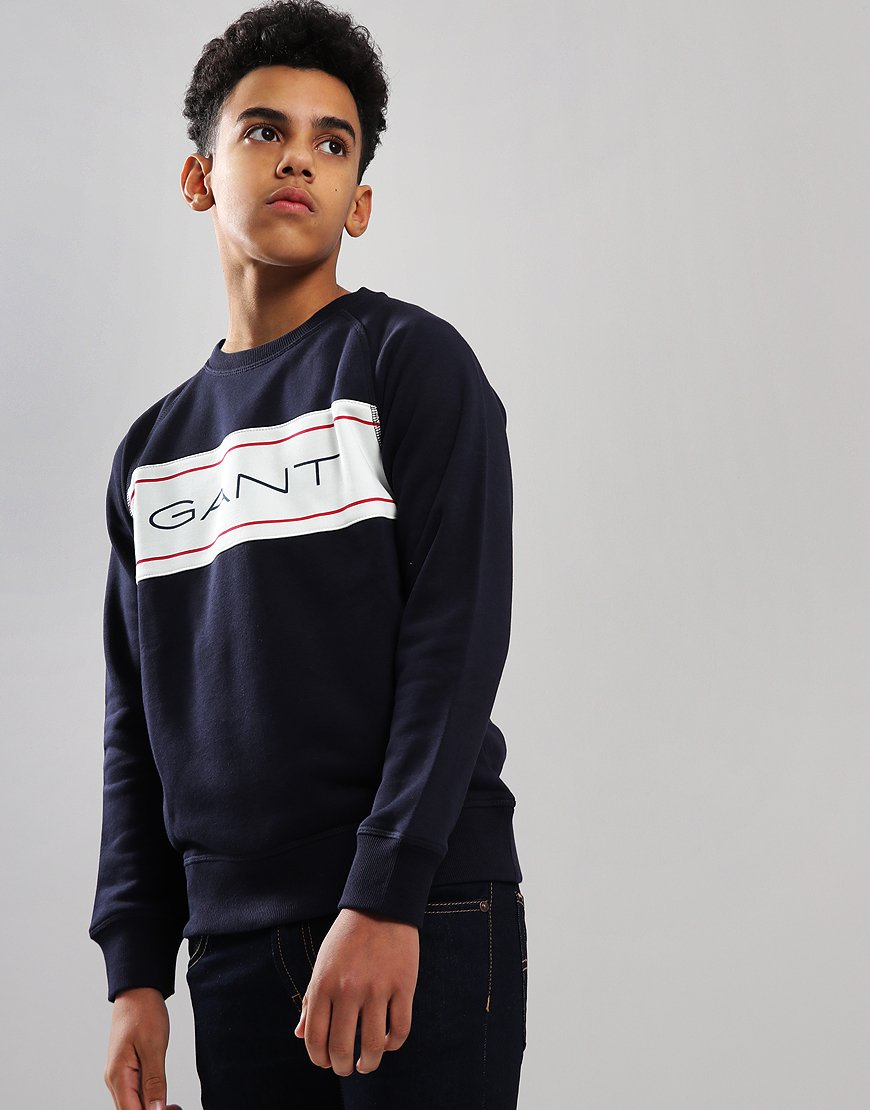 Gant Kids Icon Crew Neck Sweat Evening Blue