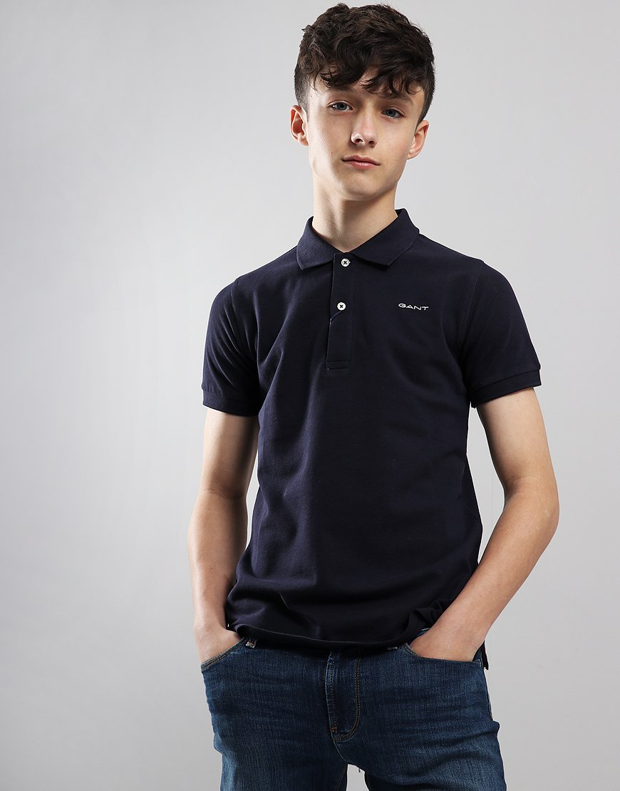 Gant Kids Icon Pique Polo Shirt Evening Blue