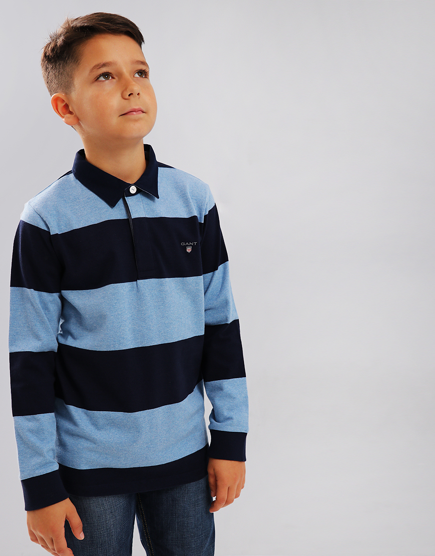Gant Kids Heavy Rugger Barstripe Polo Shirt Winter Sky