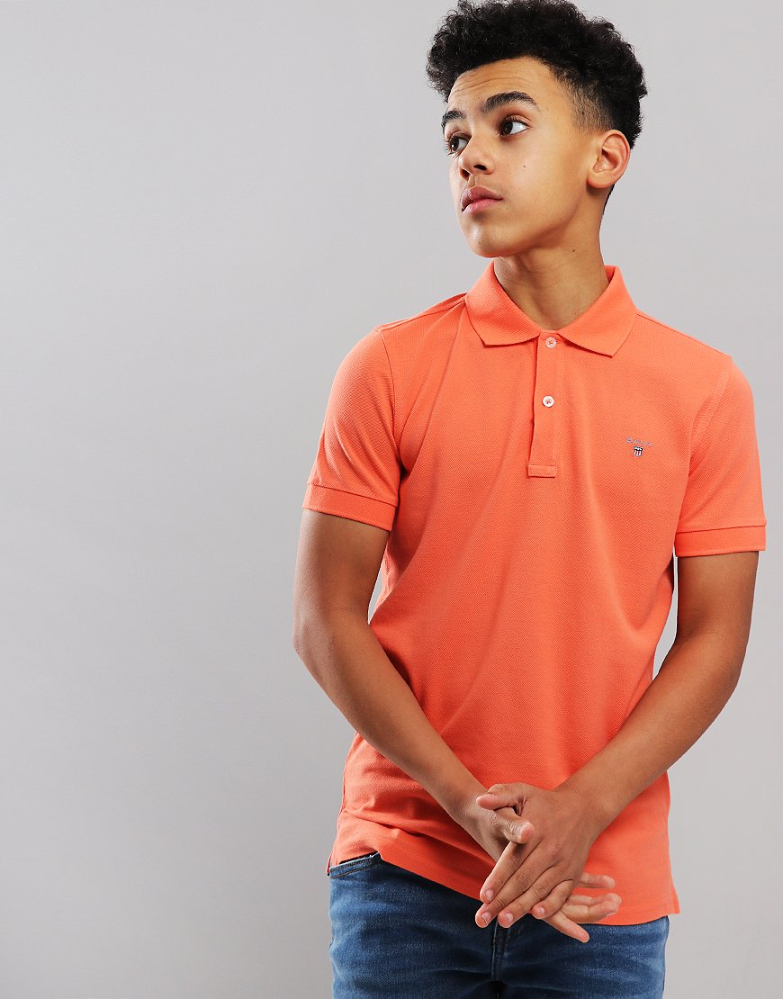 Gant Kids Original Pique Polo Shirt Coral Orange