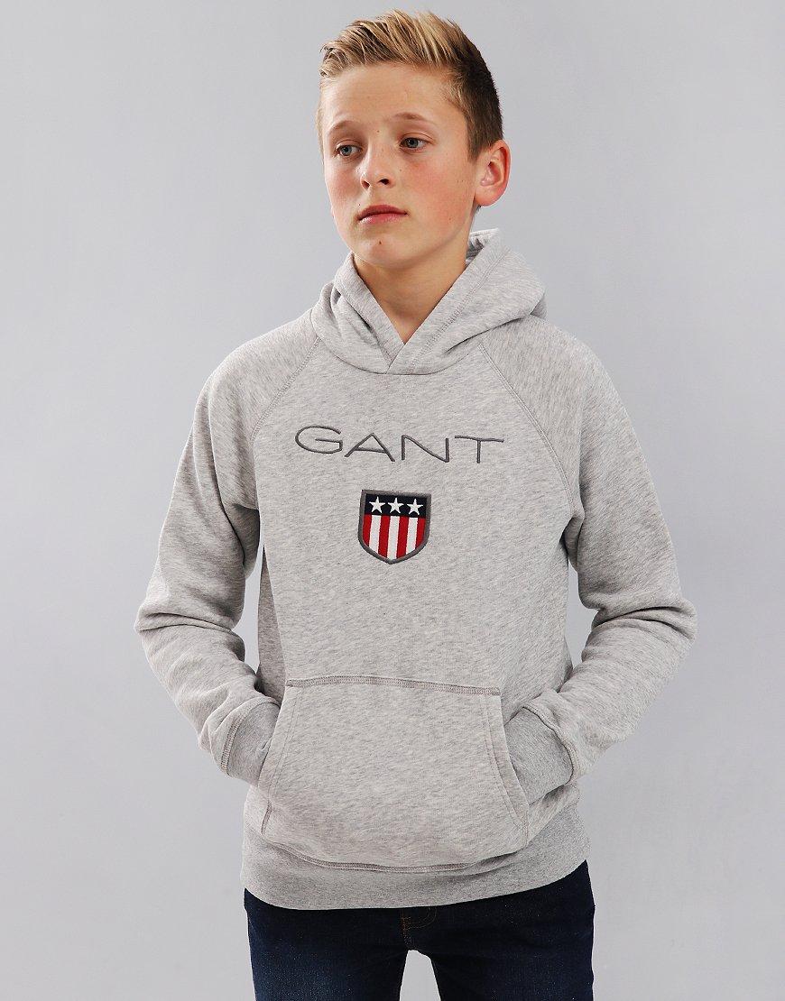 Gant Kids Shield Hoodie Light Grey Melange