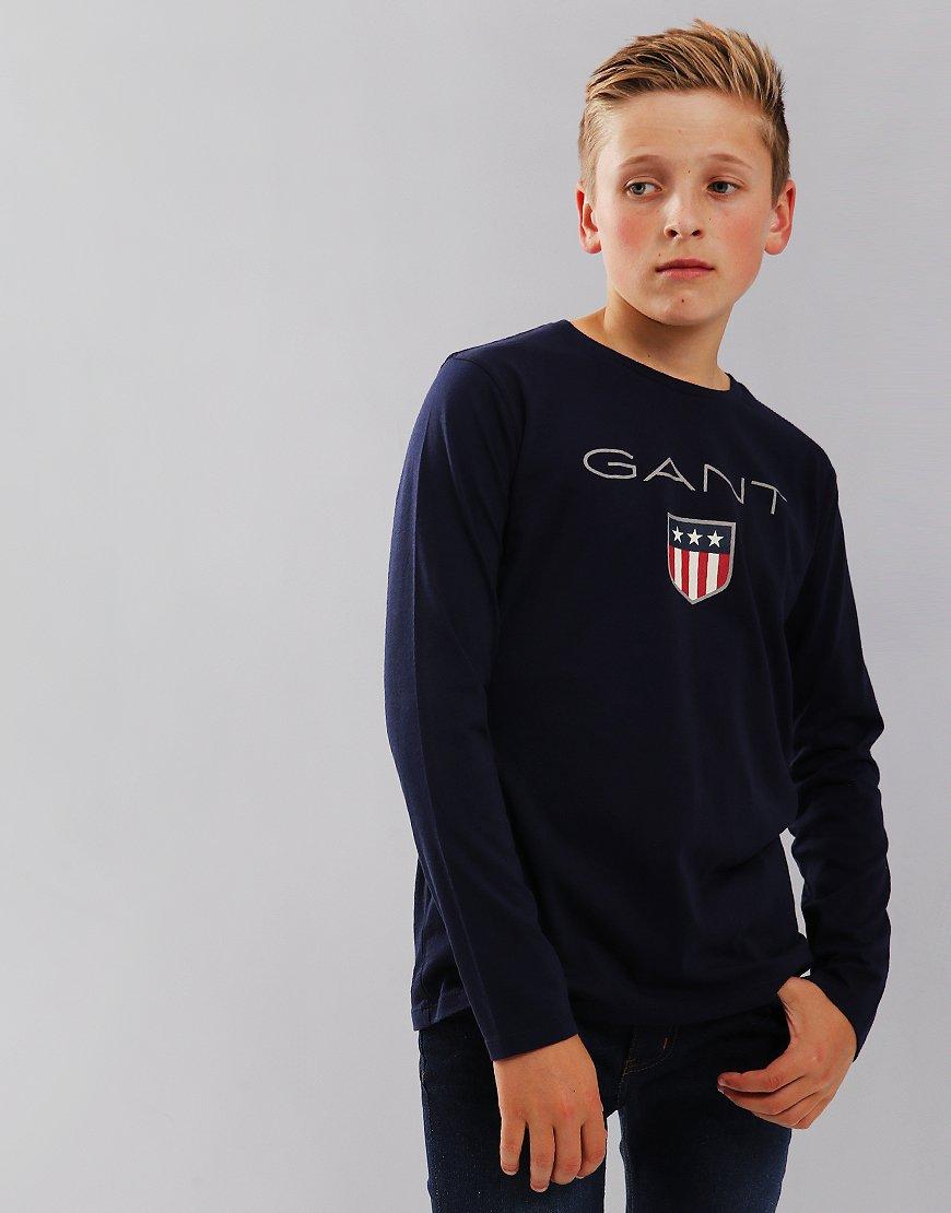 783a7238 Gant Kids Shield Long Sleeve T-Shirt Evening Blue