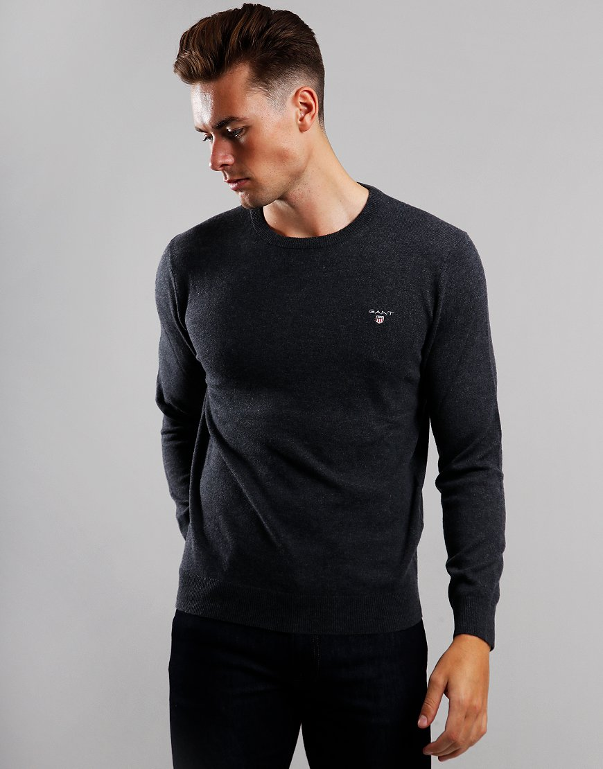 GANT Lambswool Crew Neck Knit Anthracite Melange
