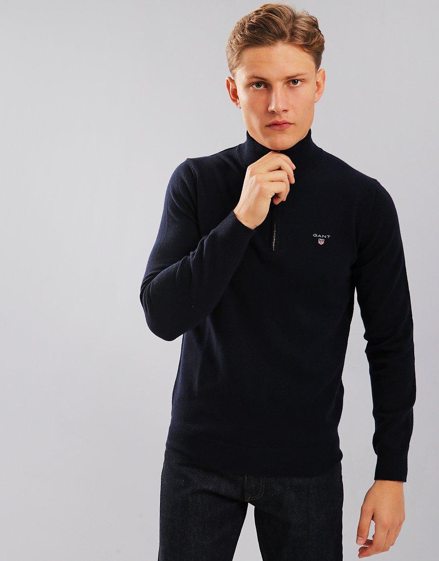 Gant Lambswool Knitted Funnel Neck Zip Jumper Marine