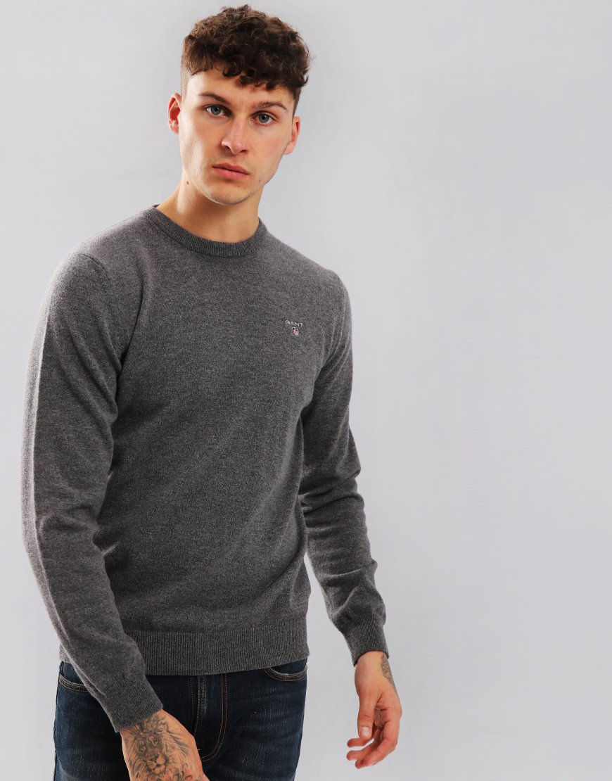 Gant Lambswool Knitted Crew Neck Jumper Charcoal Melange