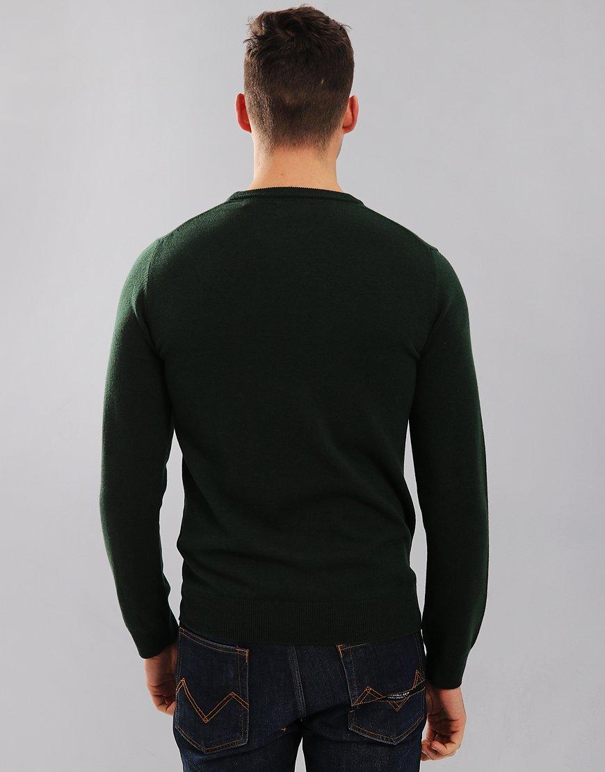 Gant Lambswool Knitted Crew Neck Jumper Tartan Green