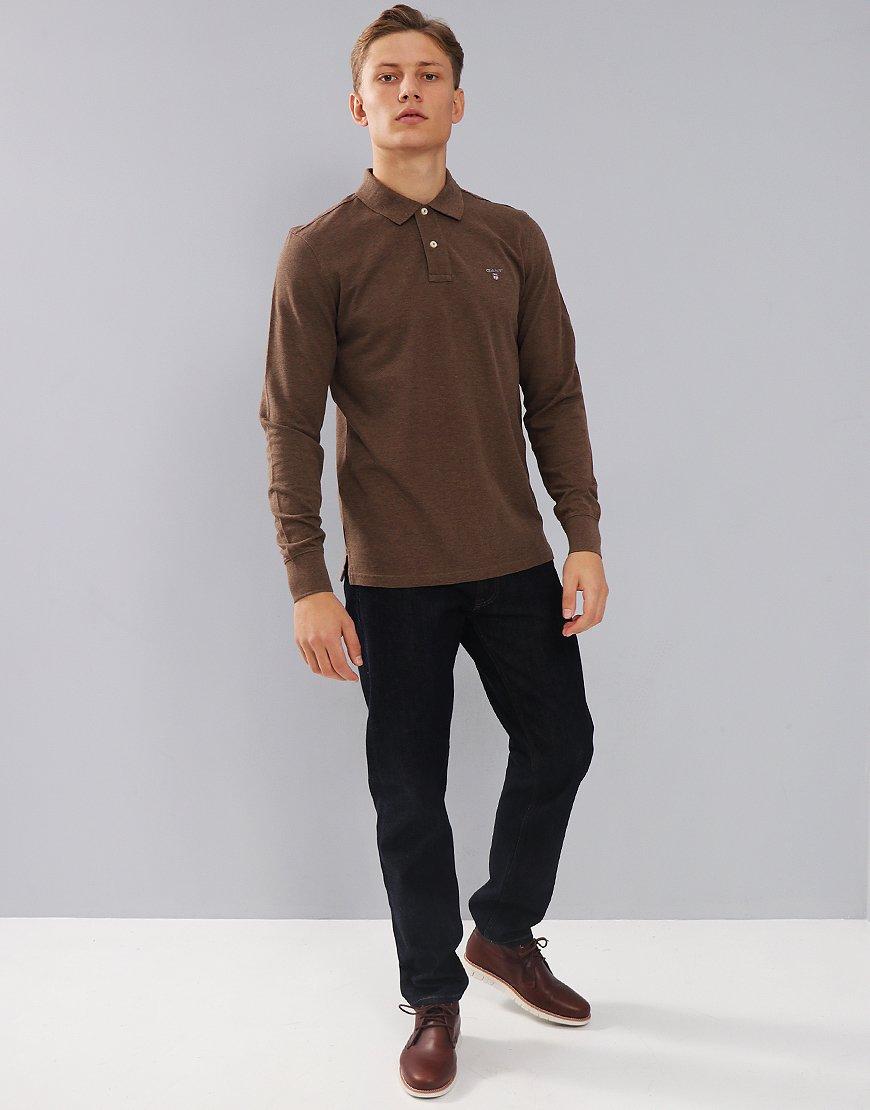 Gant Long Sleeve Pique Polo Shirt Brown Melange