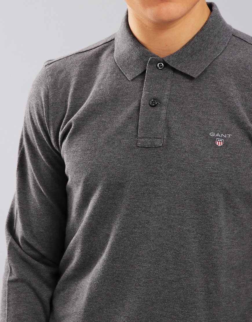 Gant Long Sleeve Pique Polo Shirt Charcoal Melange