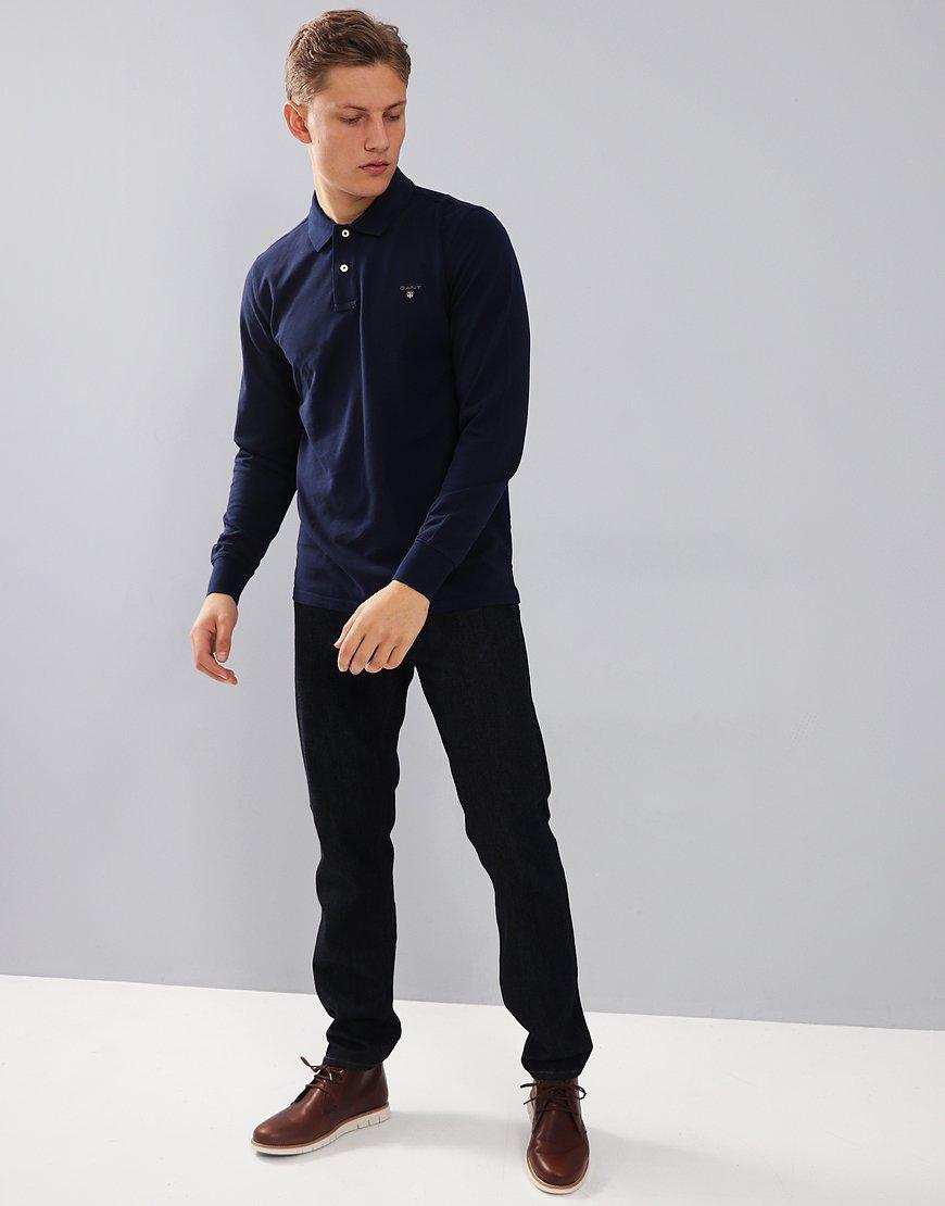 Gant Long Sleeve Pique Polo Shirt Evening Blue