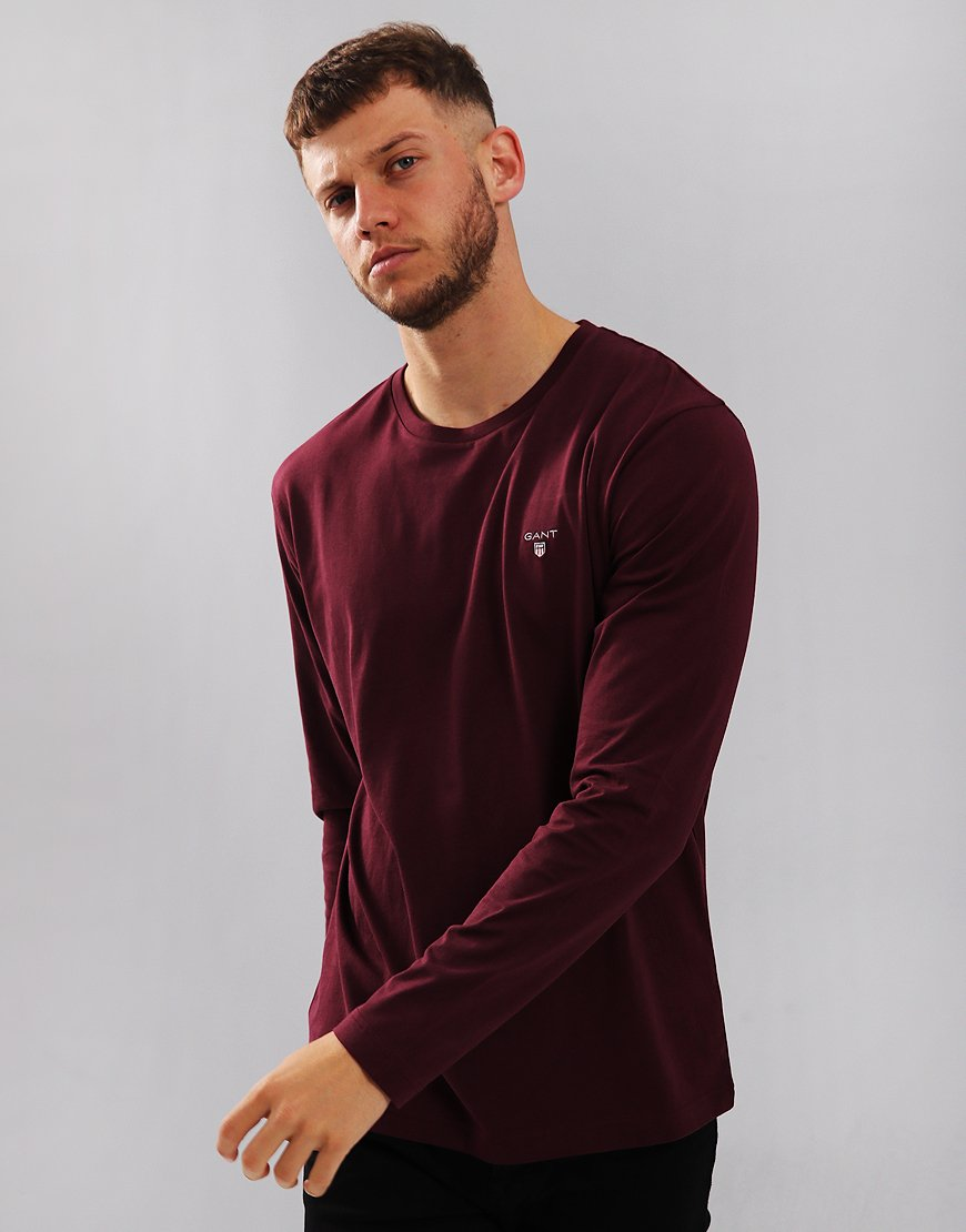 Gant Long Sleeve Solid T-Shirt Purple Fig