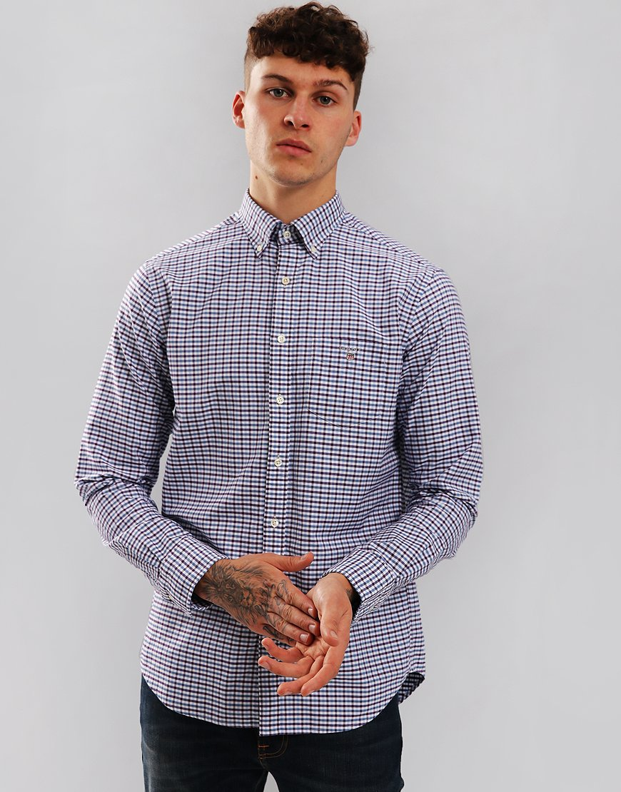 Gant Oxford 3 Colour Gingham Shirt Muscadine Grape