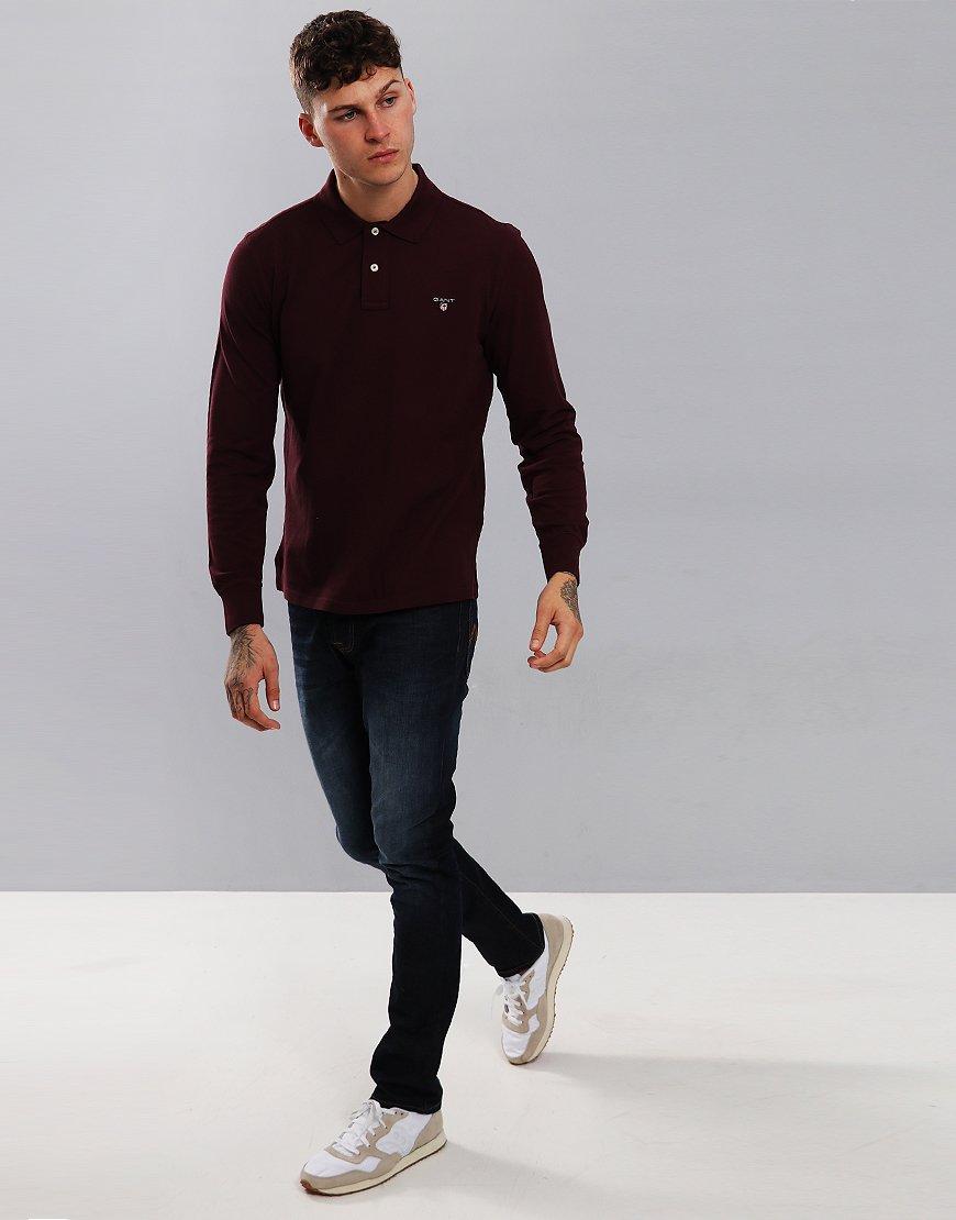 Gant Long Sleeve Pique Polo Shirt Purple Fig