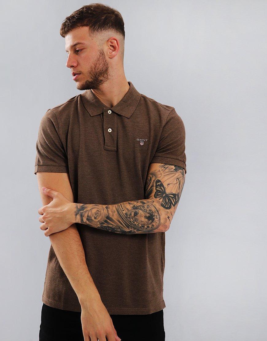 Gant Pique Polo Shirt Brown Melange