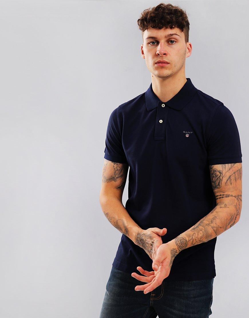GANT Short Sleeve Pique Polo Shirt Evening Blue