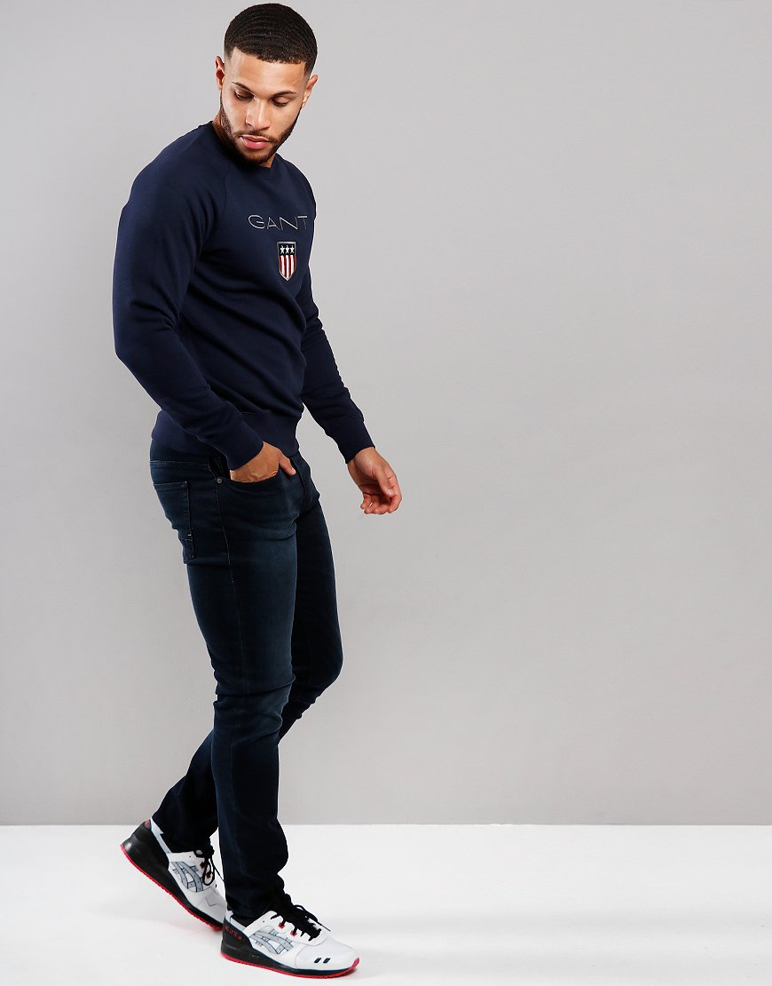 Gant Shield Logo Crew Neck Sweat Evening Blue