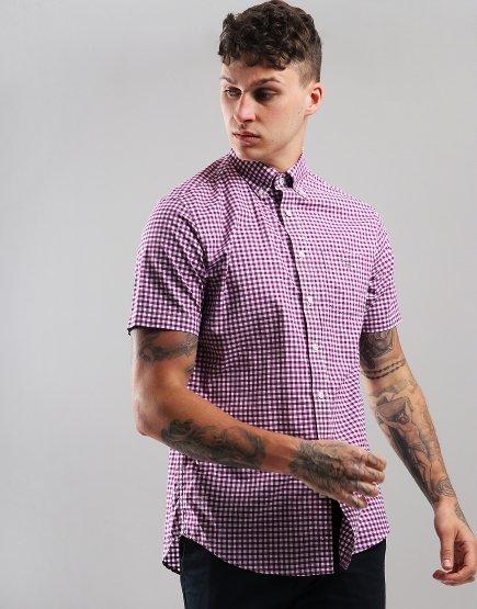 Gant Short Sleeve Broadcloth Gingham Shirt Purpur