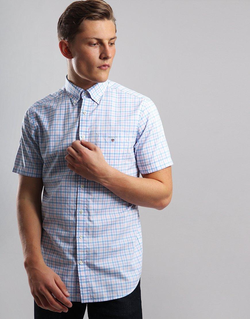 Gant 3 Colour Short Sleeve Gingham Shirt Capri Blue