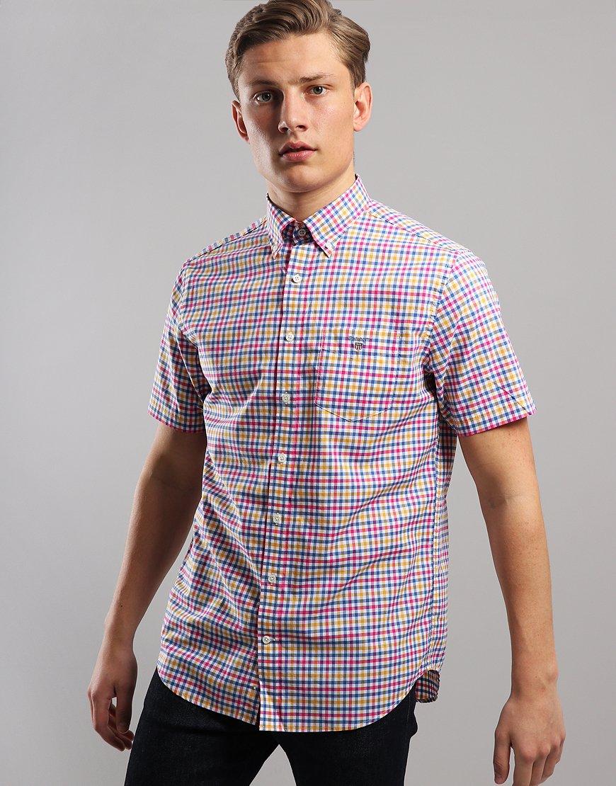 Gant 3 Colour Short Sleeve Gingham Shirt Poseidon Blue