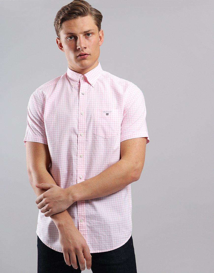 Gant Short Sleeve Broadcloth Gingham Shirt Shadow Rose
